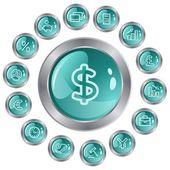 金融ボタン — ストックベクタ