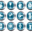 Stock Vector: Food and drinks buttons