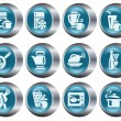 Kitchen and cooking buttons - Stock Vector