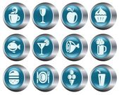 Food and drinks buttons — Stock Vector