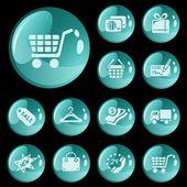 Los botones de compras — Vector de stock