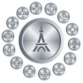 Travel buttons — Stock Vector