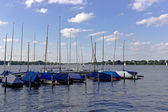 Pier in alster lake — Stock Photo