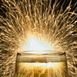 Champagne with Sparkler - Stock Photo