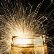 Champagne with Burnning Sparkler - Stock Photo