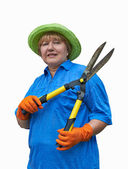 Senior Woman With Garden Shears — Stock Photo