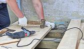 Work On Plank Floor — Stock Photo