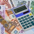 Euro Notes with Calculator — Stock Photo