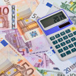 Euro Notes and Calculator — Stock Photo