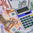 Euro Notes, Coins and Calculator — Stock Photo
