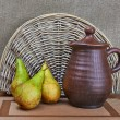 Pottery And Pears Still Life — Stock Photo