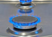 Blue Flames Burning From a Gas Stove — Stock Photo