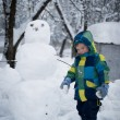 Boy with snowman — Stock Photo