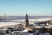 Old Riga in winter from above — Stock Photo