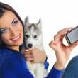 Woman and puppy photo — Stock Photo #10609871