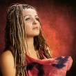 Girl with an african plaits - Stock Photo