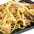 Noodles and three kinds of meat — Stock Photo #13849778