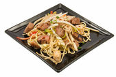 Noodles and three kimds of meat — Stock Photo
