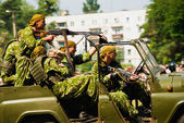 Airborne troops on car — Stock Photo