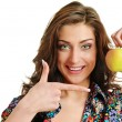 Apple and woman — Stockfoto