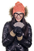 Stylish girl with credit card — Stock Photo