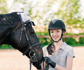 Portrait with horse — Stockfoto