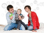 Play with soap bubble — Foto Stock