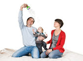 Play with soap bubble — Stockfoto