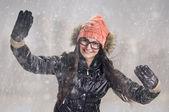 Brune dans la tempête de neige — Photo