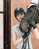 Portrait with horse — Stock Photo