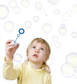 Little boy and soap bubbles — Stock Photo