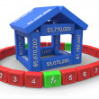 Stylized house made of spreadsheet 3d elements — Stock Photo