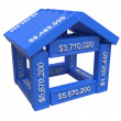 Stylized house made of spreadsheet 3d elements — 图库照片 #35863951