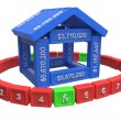 Stylized house made of spreadsheet 3d elements — Foto de stock #35863987