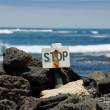 Stop sign near the ocean — Stock Photo