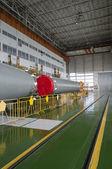 Soyuz space rocket assembly building. Baikonur Cosmodrome — Stok fotoğraf