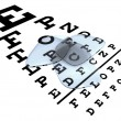 Eyeglasses lenses on top of Shellen chart — Stock Photo