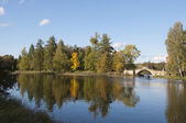 Humpbacked (Gorbaty) bridge at White (Beloye) lake. Gatchina — Stock Photo