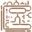 Copper pipe fittings set — Foto de Stock