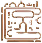Copper pipe fittings set — Stock Photo