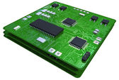 Printed circuit boards populated with some components — Stockfoto