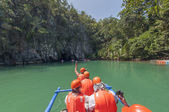 Boat near Subterranean River. Puerto Princesa, Philippines — Stock Photo
