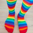 Legs in striped socks stockings. — Stock Photo #20134535