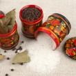 Khokhloma painted jars — Stock Photo