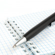 Black ballpoint pen on a notepad with spring — Foto Stock
