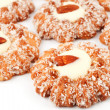Cookies sprinkled with coconut almond in the center - Стоковая фотография