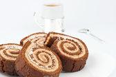Four chocolate cake roll closeup — Stock Photo