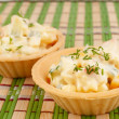 Tartlets with crab salad — Stock Photo