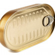 Closed gold metal tin — Stock Photo