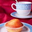 Cake and blue tea cup — Stock Photo